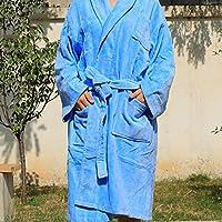 バスローブ メンズ&ラディーバスローブ大人用ショールカラーベルトと2つのフロントポケットジムシャワー用スパ用ホテルロブホリデープレゼントorクリスマスギフト ( Color : Blue )