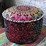 """Star Mandala Pouf Ottoman Round Indian Ottoman Poof Pouffe Foot Stool Ethnic Decorative Ottoman (14x24"""")"""