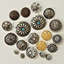 コンチョボタン福袋 9種18個 おまけ2個 メタルボタン 足付きボタン