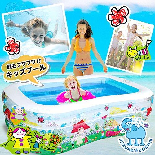 【水浴び象さん】安心の3気室底もフワフワビニールプール160×110×55cm(160cm)