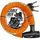 【タイムセール】バイクロック チェーンロック バイク 自転車 ワイヤーロック φ(直径)22mm×1200mm 頑丈 盗難防止 鍵3本セットが激安特価!