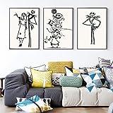 ミニマリストのナイトメアー・ビフォア・クリスマスのポスターとプリントリビングルームの装飾のためのウォールアートキャンバス絵画家の装飾-40x60cmx3(フレームなし)