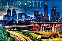 シャーロット、ノースカロライナ州–夜のスカイライン 9 x 12 Art Print LANT-55925-9x12