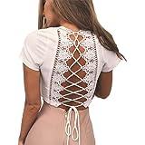 Antopmen Women's Sexy Deep V Neck Short Sleeve Cross Tied Up Tee Lace Crop Top
