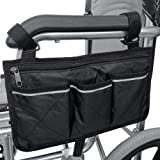 SMASAMDE Wheelchair Side Organizer Storage Bags Pouch, Arm Rest Pouch and Drink CupHolder, Wheel Chair Accessories Organizers