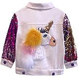 weLaken Colorful Unicorn Jean Jacket for Girls Toddler & Kids Denim Jacket with Sequin Sleeve - Unicorn Gift