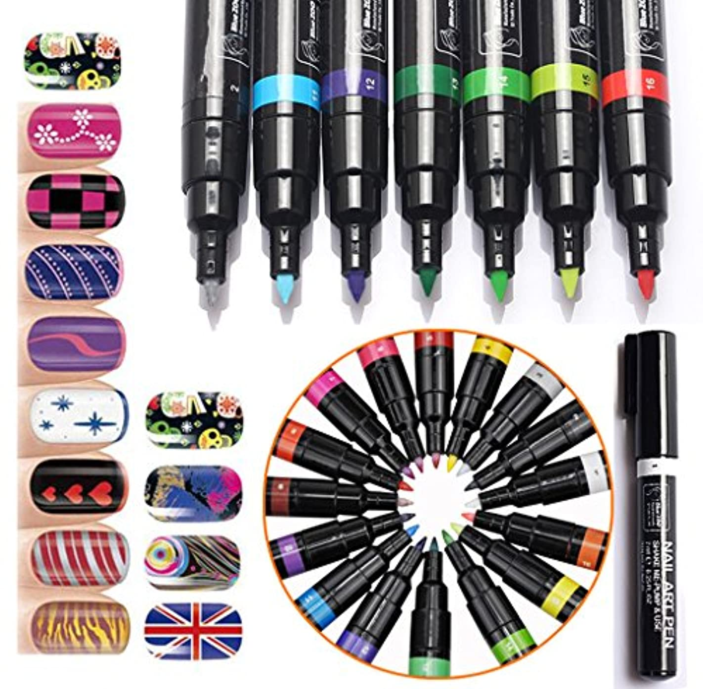 算術襲撃推測(メイクアップエーシーシー) MakeupAcc カラーネイルアートペン 3Dネイルペン ネイルアートペン ネイルマニキュア液 ペイントペン ペイント 両用 DIY 16色 (16色) [並行輸入品]