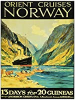 TRAVEL ORIENT CRUISES NORWAY FJORD SHIP LONDON UK VINTAGE POSTER ART PRINT 12x16 inch 30x40cm 旅行オリエントクルーズノルウェーフィヨルド船ロンドンイギリスビンテージポスターアートプリント