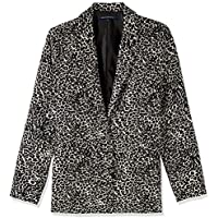 French Connection Women's Animal Print Blazer, Camel/Multi