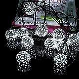 LEDイルミネーション ソーラー充電式 ガーデンライト 電飾 20球ボール モロッコ風 屋内 屋外 光センサー内蔵で自動ON/OFF クリスマス ハロウィン ストリングスライト エクステリアライト クリスマスツリー デコレーション ホワイト