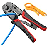 Strippers and Crimpers rj45 Crimping Tool 3 in 1 Multi Pliers for Ethernet Cable Wire Stripping 4P/RJ11 6P/RJ11 and 8P/RJ45,