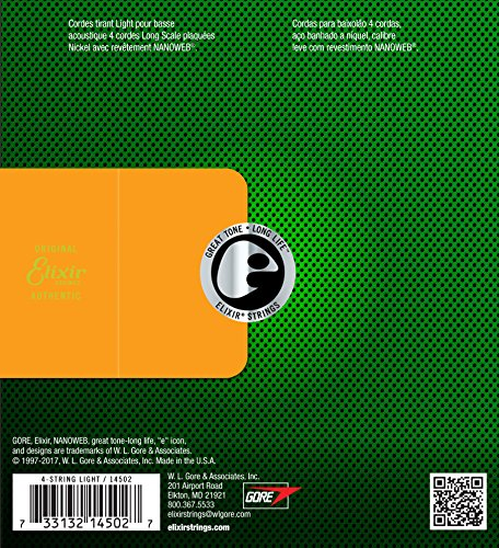 Elixir エリクサー アコースティックベース弦 NANOWEB Light .045-.100 #14502 【国内正規品】