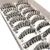 Feteso 10組 偽のまつげセット つけまつげ 上まつげ Eyelashes アイラッシュ ビューティー まつげエクステ レディース 化粧ツール アイメイクアップ 人気 ナチュラル 飾り 再利用可能 濃密 柔らかい (E)