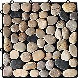 玉砂利 ストーンパネル 12枚セット ジョイント式 タイル : 天然石 【当店ウッドパネルと接続可能】