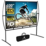 Projector Screen with Stand Foldable Portable Movie Screen 100 Inch(16:9), HD 4K Double Sided Projection Screen Indoor Outdoo