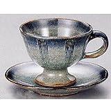 コーヒーカップソーサー 土物 手造り 灰釉 美濃焼 3y774-01-02-032