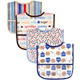 Luvable Friends Water Resistant Bibs with Crumb Catcher Pocket