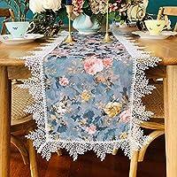 WENLI ホームキッチンテーブルランナー 刺繍花テーブルランナーダマスク効果シャンパンテーブルランナー用春古典的な結婚式の装飾結婚式の装飾赤ちゃんパーティーの装飾、3色 (Color : Blue, Size : 40*250CM)