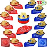 Pack of 12 Childs Straw Cowboy Hats with Cowboy Bandannas (6 red & 6 blue) Party Favours