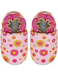 Kimi + Kai Kids Soft Sole Leather Crib Bootie Shoes - Flower Power