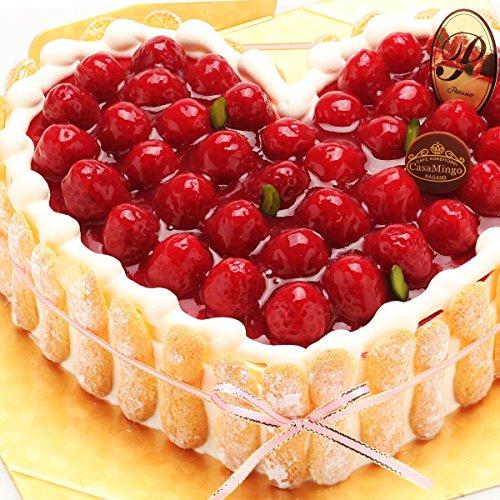 洋菓子店カサミンゴー 最高級洋菓子 特注ハート型シュス木苺レアチーズケーキ (36cm)