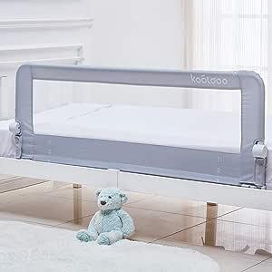 KOOLDOO 150cm ベッドフェンス ベッドガード 超長 折り畳み式 ベッドフェンス 強化セキュリティシステム備え(灰色)