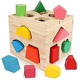 BeebeeRun 型はめパズルボックス 木製キューブパズル 型はめ遊び 知育玩具 14ピース 木のおもちゃ 形合わせ 図形認知 木製おもちゃ カラフルブロック 積み木 立体パズル 早期学習教育 色彩感覚 はめこみ ラーニングボックス ベビー キッズ