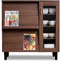 アイリスオーヤマ 食器棚 キッチンキャビネット 木目調 フラップ扉 可動棚 幅約90×奥行約42.5×高さ約93.7cm…