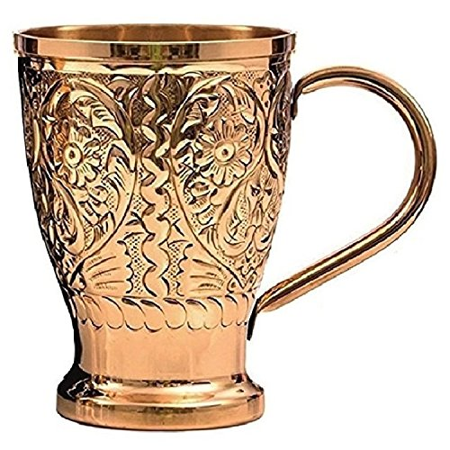 Moscow Mule銅マグカップ–by staglife- with Engraved Designer finish- 16oz–ギフトセットの2with Freeダブルジガーメジャーカップ、使用のジンジャービール、Ginウォッカ、ウイスキー・ラム、テキーラ、served Chilled