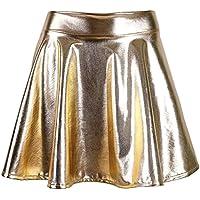 EPGU Women's Metallic Wet Liquid Faux Leather Look Flared Skater Mini Skirt