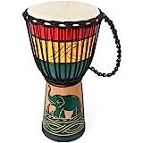 Drum Bongo Congo African Drum Stardard Size 8 Mahogany Goatskin Drumhead Djembe (8 Inch, Green)