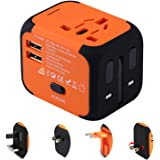 Disgian Travel Adapter,Universal World Travel Plug Adapter with Dual USB Charger. Swiss Designed for Safety Outlet. Charge iP