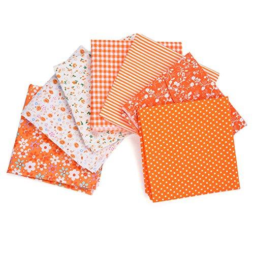QIN パッチワーク 生地 布地 平織り 綿地布 綿 プリント生地 オレンジシリーズ DIY縫う手作りの布地 7種類セット 50x50cm