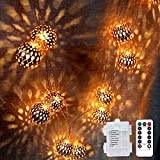 LOGUIDE Moroccan Globe String Lights,Indoor String Lights,Battery Operated String Lights,Rose Gold (Big Metal Ball/9.84 feet/ 20 LED),Diwali Lanterns Hanging Light