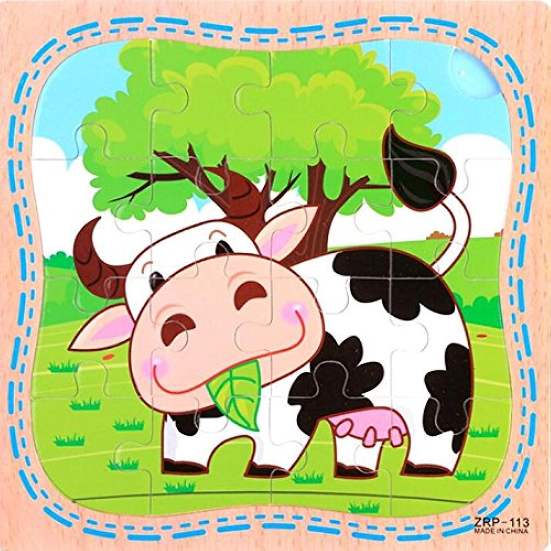 HuaQingPiJu-JP 創造的な木製動物の教育パズルアーリーラーニング番号の形の色の動物のおもちゃキッズ(牛)のための素晴らしいギフト