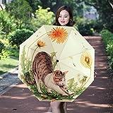 日傘 折りたたみ傘 自動開閉 晴雨兼用 遮光 遮熱 耐風 撥水 レディース 軽量 太陽と雨の二重使用の傘 大型の怠惰な猫柄