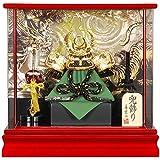 五月人形 兜 ケース飾り 徳川家康 金彫金 アクリルパノラマ 白檀塗 10号 幅42cm [sb-4-30]