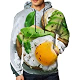 Baseball hat shop Men's Pullover Avocado Sandwich Fried Egg Sliced Food and Drink Hooded Sweatshirt