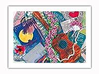 スウィートロケラニ - ハワイアンウクレレ、ロケラニ(ピンクダマスク) - オリジナルハワイ水彩画から によって作成された ペギー チュン -プレミアム290gsmジークレーアートプリント - 46cm x 61cm
