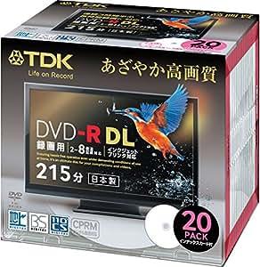 TDK 録画用DVD-R DL(片面2層) CPRM対応 8倍速対応 インクジェットプリンタ対応(ホワイト・ワイドディスク) 20枚パック 5mmスリムケース DR215DPWB20S