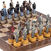 American Civil War Chessmen Extra Large Chessmen & Columbus Ave. Chess Board from Spain. King: 4 7/8. by