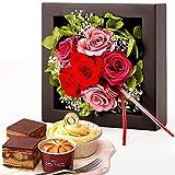 母の日 の プレゼント 花とスイーツ プリザーブドフラワーとスイーツ(黒色ケース)