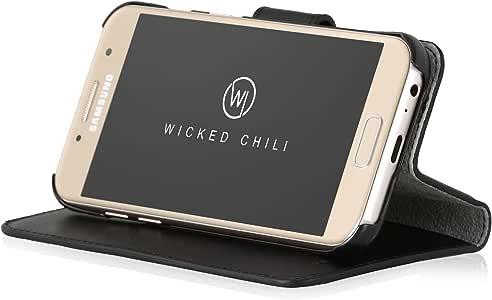 Wicked Chili by ドイツ ヨーロッパ産 高級牛革 プレミアム 本革 レザーケース 手帳型 マグネット式開閉 (Samsung Galaxy A3 (2017))