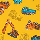【Amazon.co.jp限定】KIYOHARA 働く車 生地 オックス 約110cm幅×1mカット イエロー 入園・入学 3点セットが作れるレシピ付き MOW119-1M