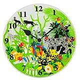 【Amazon.co.jp限定】Kayo Horaguchiコラボレーション グラスクロック 置き・掛時計(直径20cm) グリーン