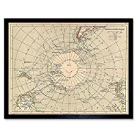 Geography Map Illustrated Antique Hachette Antarctica Art Print Framed Poster Wall Decor 12X16 Inch 地図イラスト付きアンティークポスター壁デコ