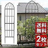 シンプルローズフェンス ブラック 2枚セット (目隠しフェンス/ガーデンフェンス/アイアンフェンス/ハイフェンス)