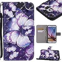 Galaxy S6 ケース 財布型 [魔法の蝶] 光の効果 Galaxy S6 ケース 芸術的な感覚 BRAVODAY 横開きスマホケース カードポケット付き 財布 Galaxy S6 ケース 手帳型 維持しやすい 耐汚れ カード収納 スタンド機能 Samsung Galaxy S6 ケース 防塵 耐衝撃 全面保護 手作り高級合皮 マグネット機能 スタンド機能(青い蝶)