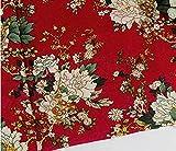 民族柄 綿 麻 布 生地 手芸 衣類用 幅145cm 長さ200cm カラー 花柄 刺繍 中華風 コットンリネン ハンドメイド (牡丹・赤地)
