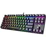 PICTEK TKL Mechanical Gaming Keyboard, RGB LED Rainbow Backlit 60% Keyboard with Blue Switches, 27 LED Lighting Modes 87 Keys